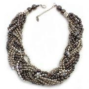 Colar feminino, níquel, trançado, curto, cristais - 4501