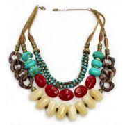Colar feminino, ouro velho, colorido, camurça e resinas - 4359