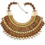 Colar feminino, ouro velho, trançado, madeira, cristal - 4476
