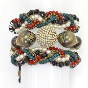 Pulseira feminina ajustável , 3 voltas , bolas, miçangas, pérolas e cristais -3641