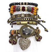 Pulseira  feminina colorida,cristais, camurças e pingentes -5359