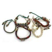 Pulseira feminina colorida, varias voltas, cristais, corrente, metais e strass -3724
