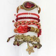 Pulseira feminina vermelha , pedras e cristais-5343
