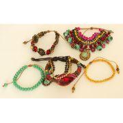 Pulseira feminina colorida, varias voltas, cristais, pingentes e strass -0096
