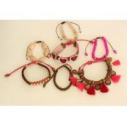 Pulseira feminina rosa, varias voltas, cristais e tassel -0463