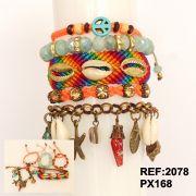 Pulseira feminina colorida, 5 voltas, cristais, búzios e pingentes -2078