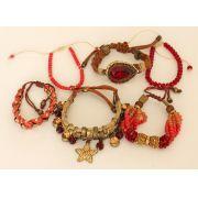 Pulseira feminina vermelha, 6 voltas, strass, pingentes e cristais -2129