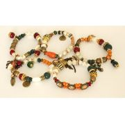 Pulseira feminina colorida, 5 voltas , silicone , pérolas, cristais e pingentes-3662