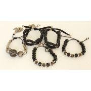 Pulseira feminina preta, ajustável, 5 voltas, cristais e strass  -3675