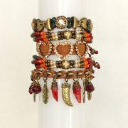 Pulseira feminina colorida, várias voltas, camurça, cristais, pingentes e strass -3699