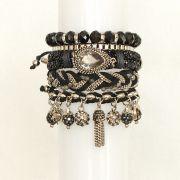 Pulseira feminina preta, 5 voltas, correntes, camurça, cristais -3736