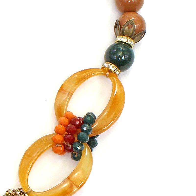 Colar feminino bolas, resina e metal - 5895