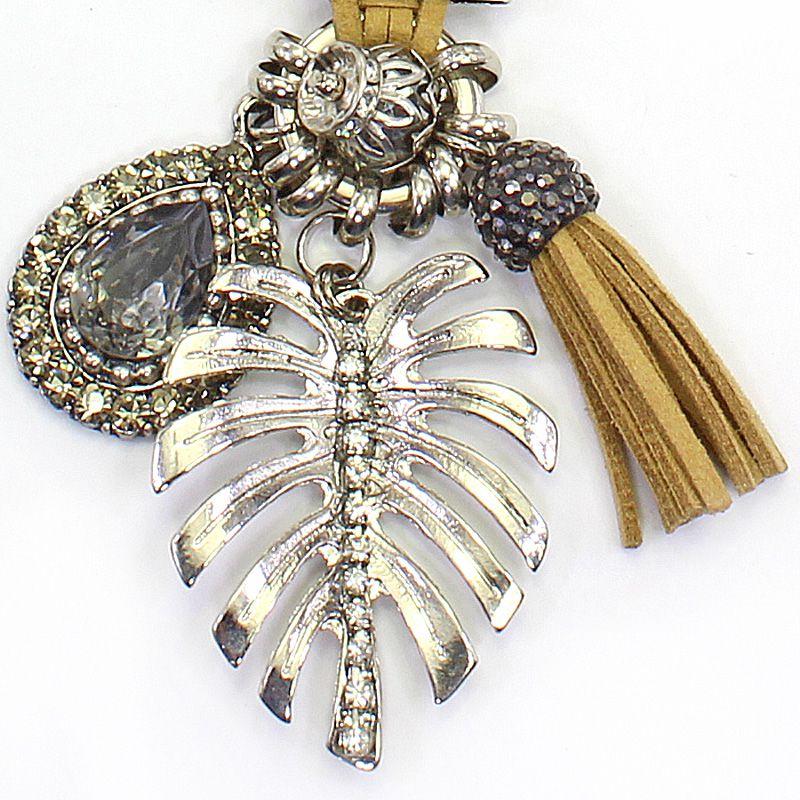 Colar feminino camurça e metal - 5700