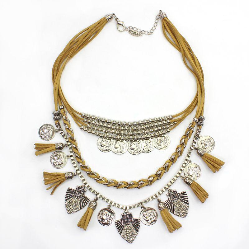 Colar feminino camurça, metais, moedas - 5731