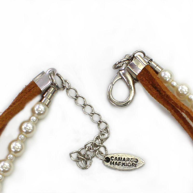 Colar feminino, camurça, níquel, perola - 4246