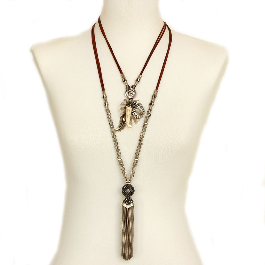 Colar feminino cristais, camurça, metais, dente - 3521