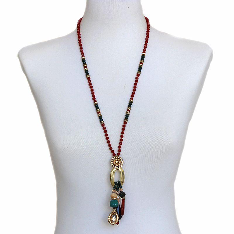 Colar feminino cristais e pingentes - 4948