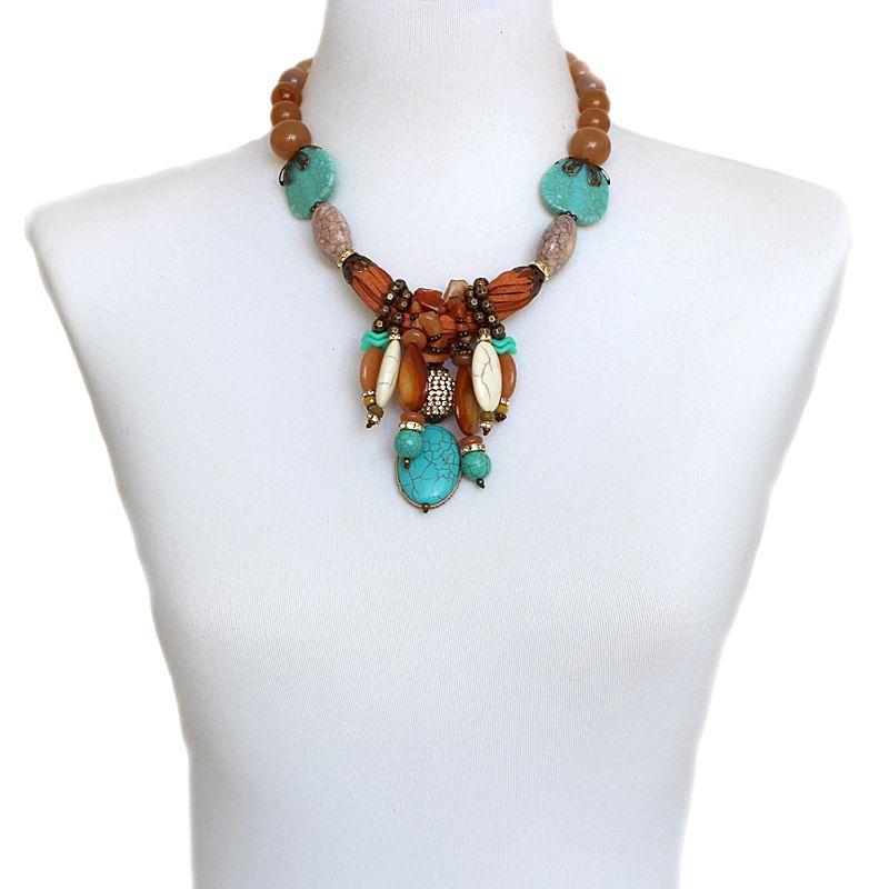 Colar feminino curto, pedras e resinas - 4909