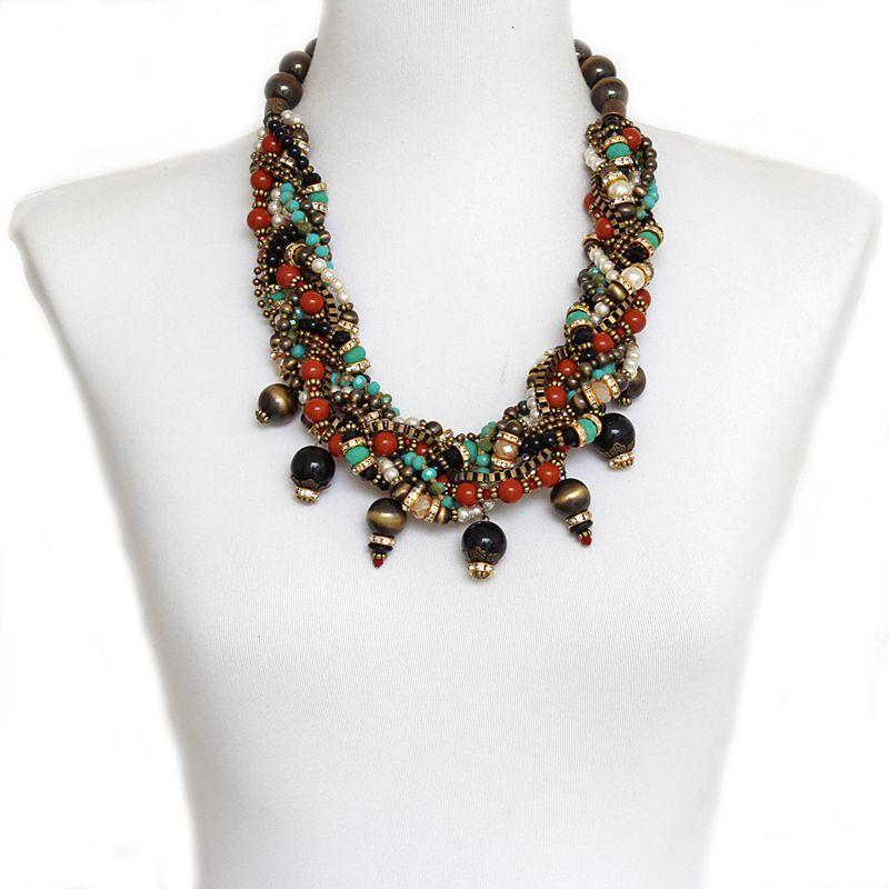 Colar feminino curto, trançado com cristais, miçangas e pérolas -3998