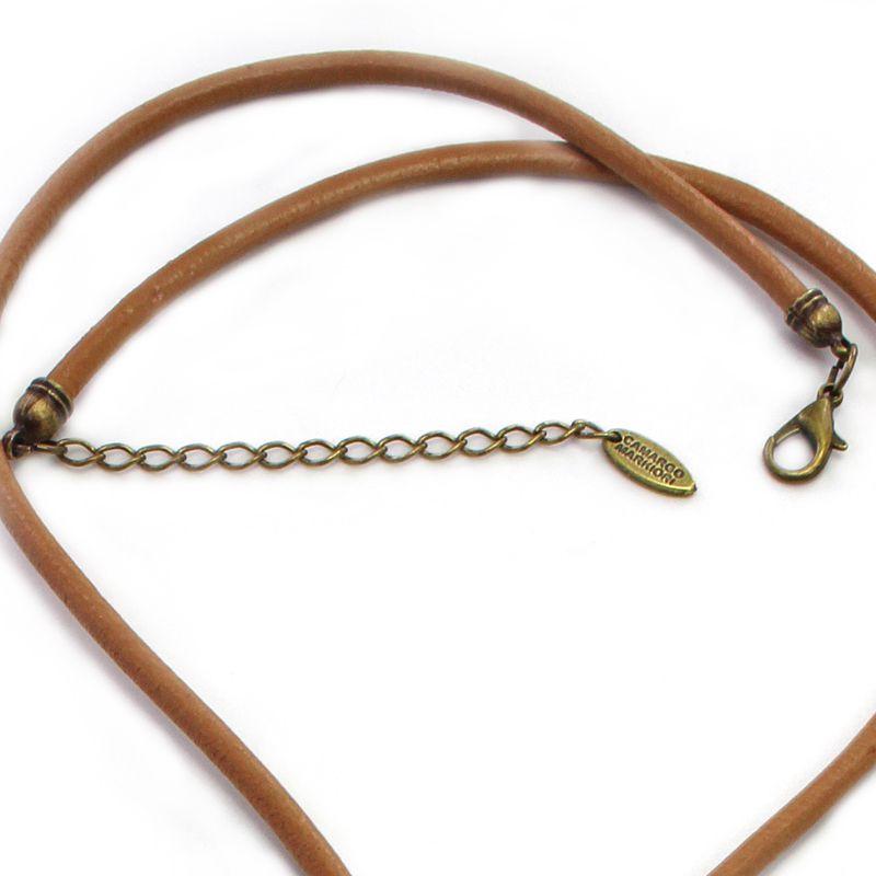 Colar feminino, longo, couro, pingentes, ouro velho - 4865