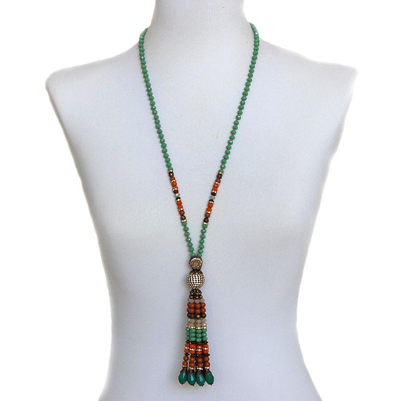 Colar feminino longo , cristais -4925