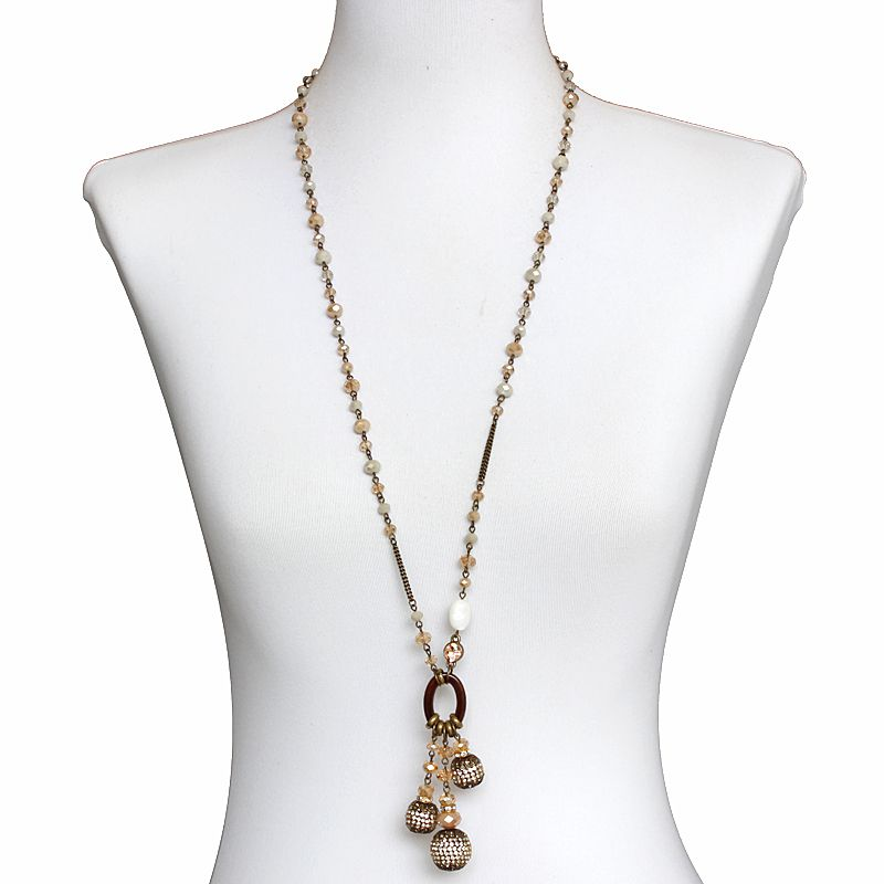 Colar feminino longo  cristais - 5891