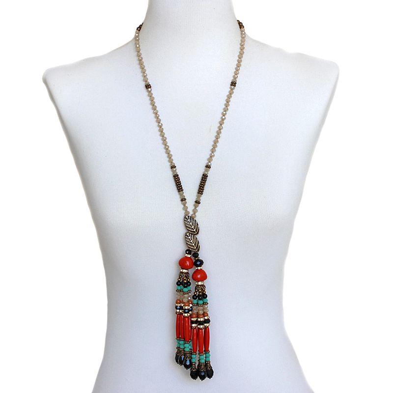 Colar feminino longo cristais e franja - 5667
