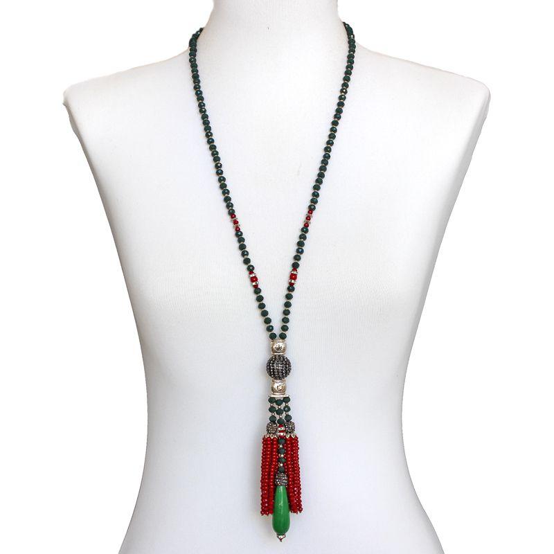 Colar feminino longo, cristais e pedra -3038