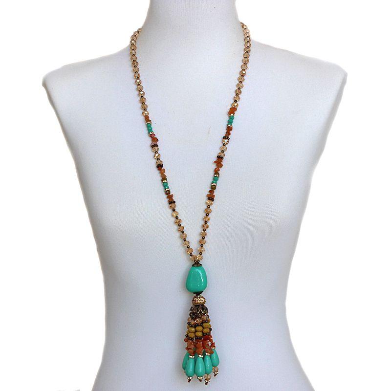 Colar feminino longo , cristais e pingentes - 4942