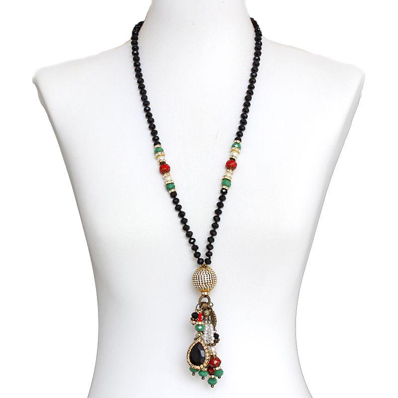 Colar feminino longo cristais e pingentes - 5927