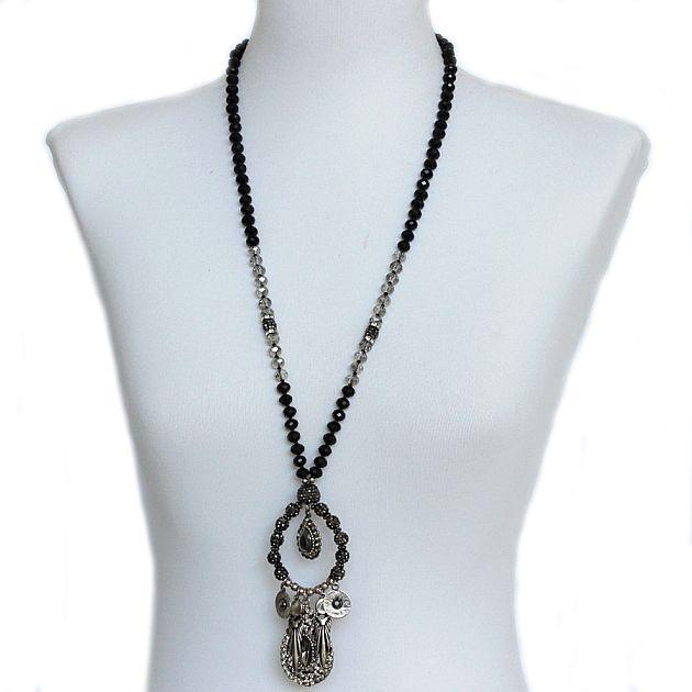 Colar feminino longo cristais preto - 1611