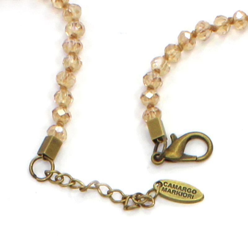 Colar feminino longo dourado , cristais e pingentes - 5856