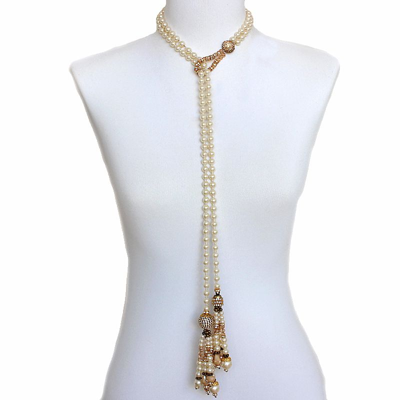 Colar feminino longo, pérolas e cristais - 5256