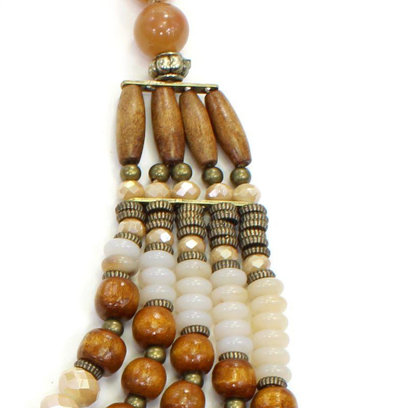 Colar feminino max bolas, madeiras e cristais - 5917