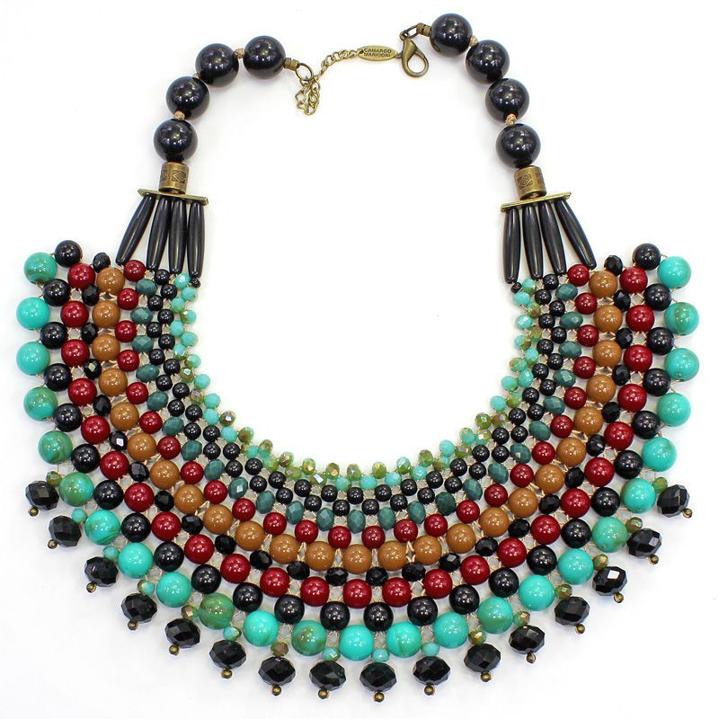 Colar feminino max colorido , bolas e cristais - 5875