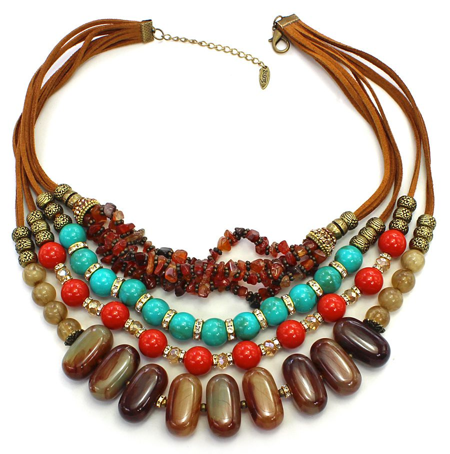 Colar feminino max colorido resinas e cascalho -4229
