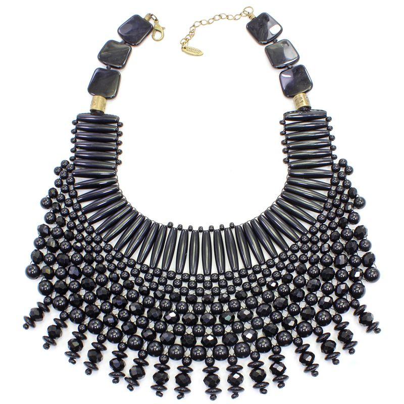 Colar feminino max preto trançado - 5708