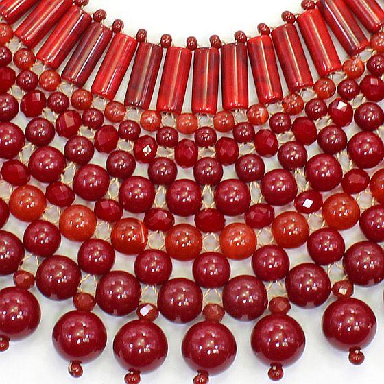 Colar feminino max trançado , bolas e cristais - 5898