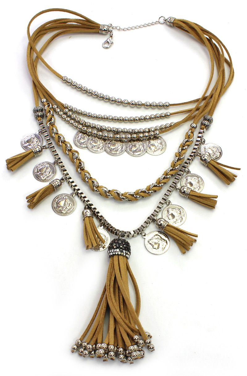 Colar feminino, níquel, camurça, corrente e moedas - 4238