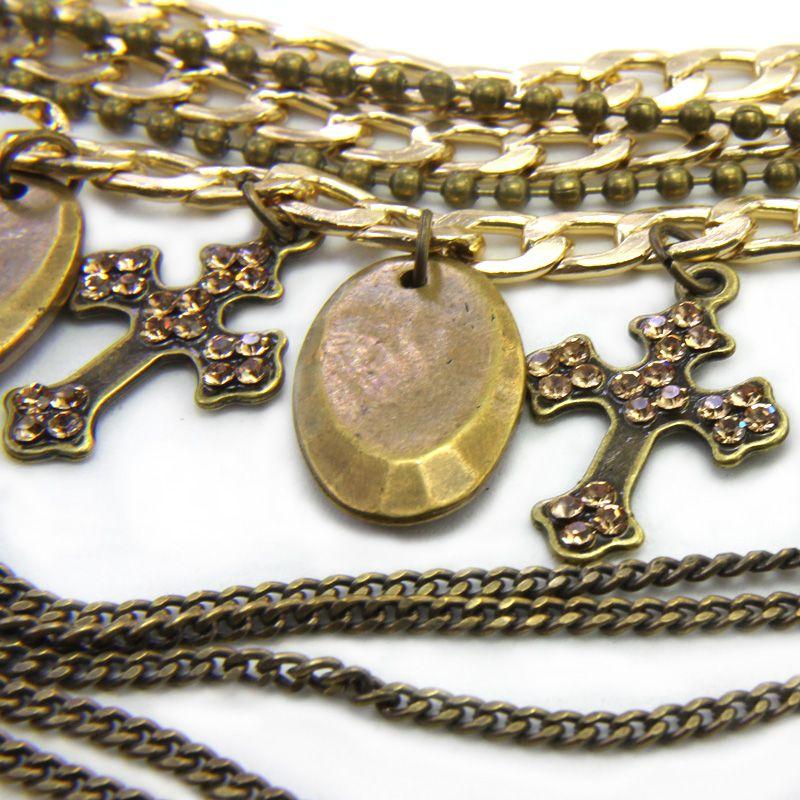 Colar feminino, ouro velho, corrente, varias voltas, strass - 4480
