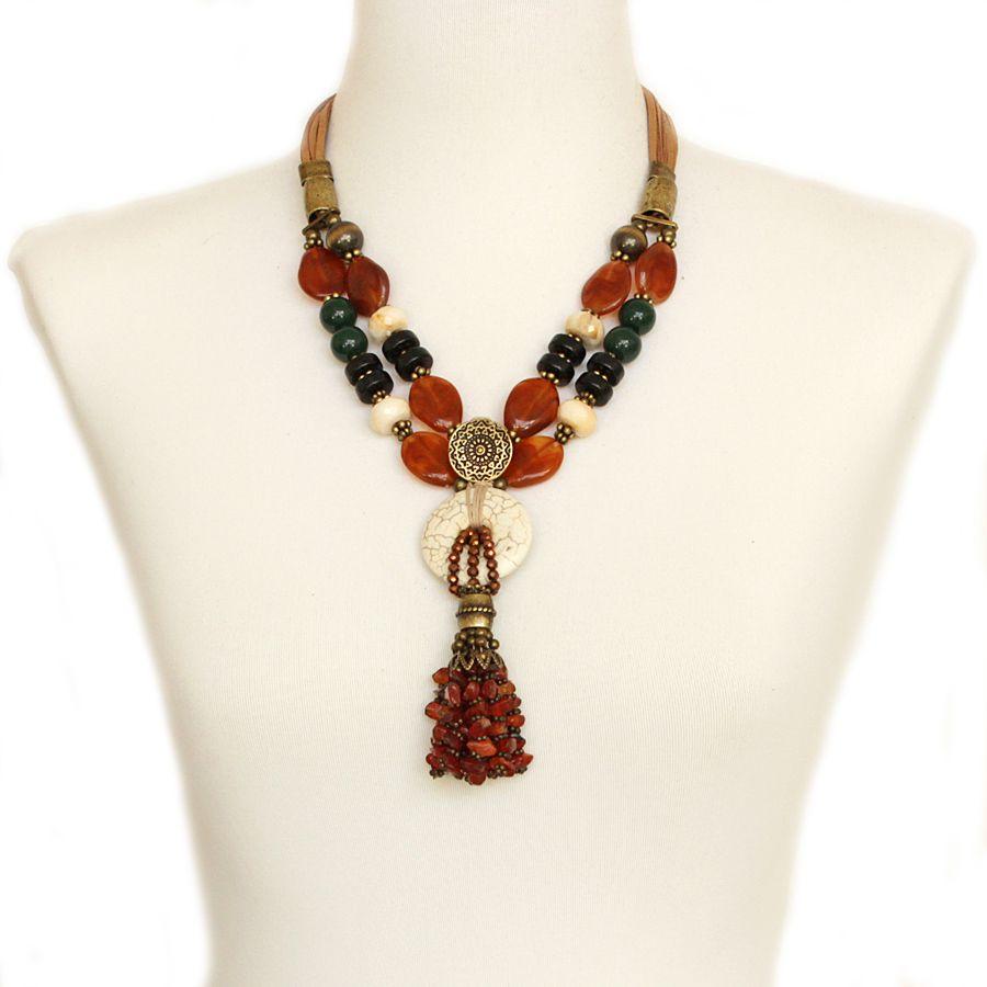 Colar feminino, resinas, cascalho, cristais, bolas, camurça e pedra -3503