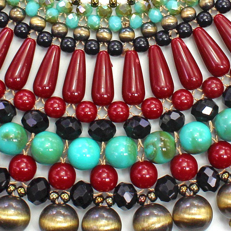 Colar feminino, trançado, ouro velho, resina, colorido - 4851