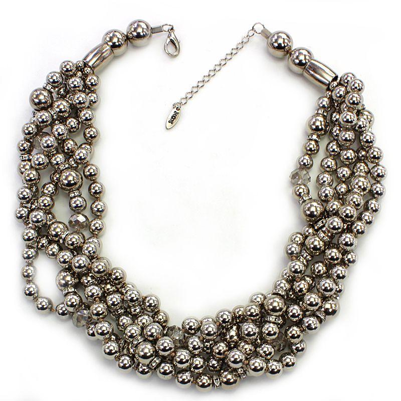 Colar feminino trançado prata - 4505