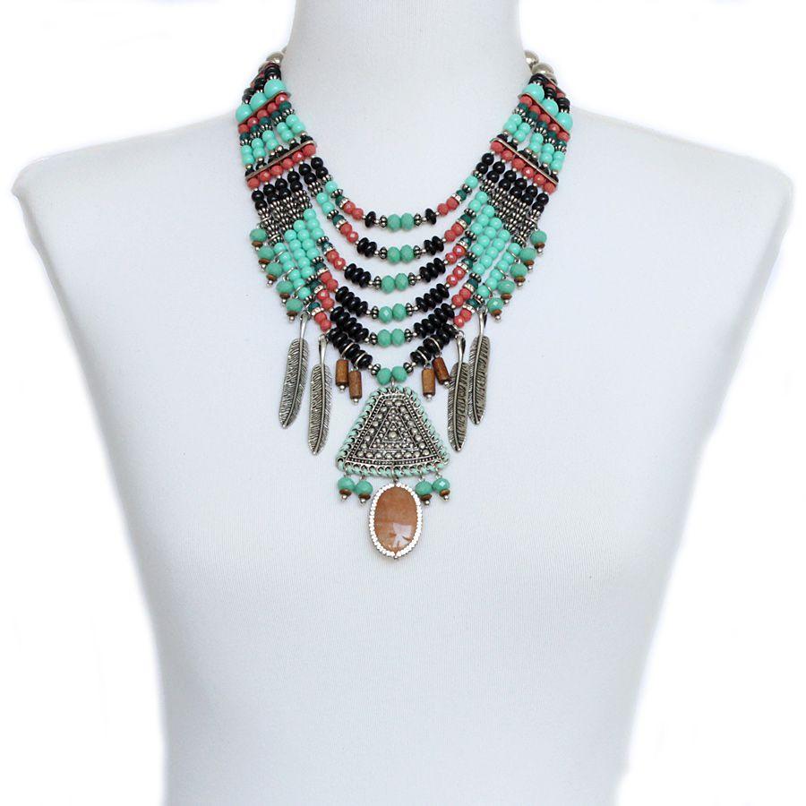 Colar max feminino, miçangas, cristais e metal - 9971