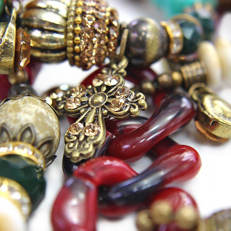 Pulseira feminina colorida, varias voltas, silicone, bolas, cristais e elos -3598