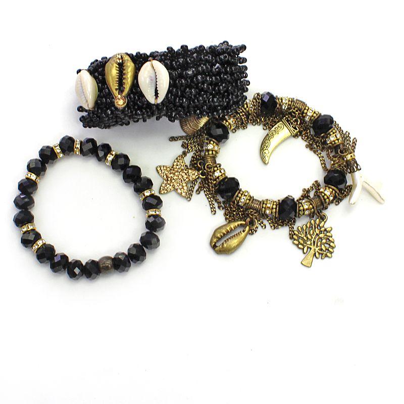 Pulseira feminina preta, miçanga , silicone, cristais e búzios -2884
