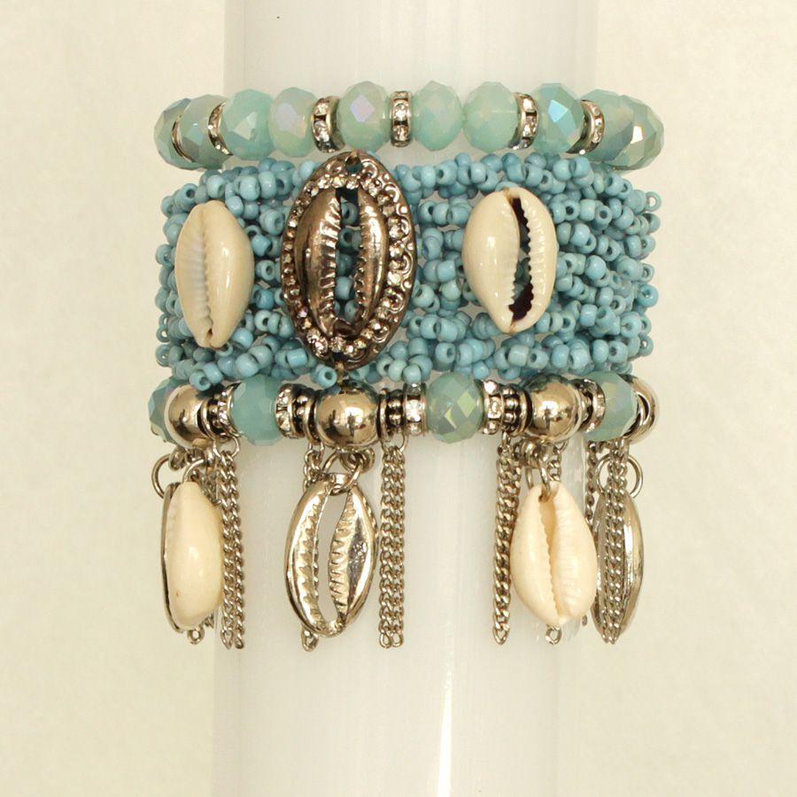 Pulseira feminina azul, miçanga, silicone, cristais e búzios -2877