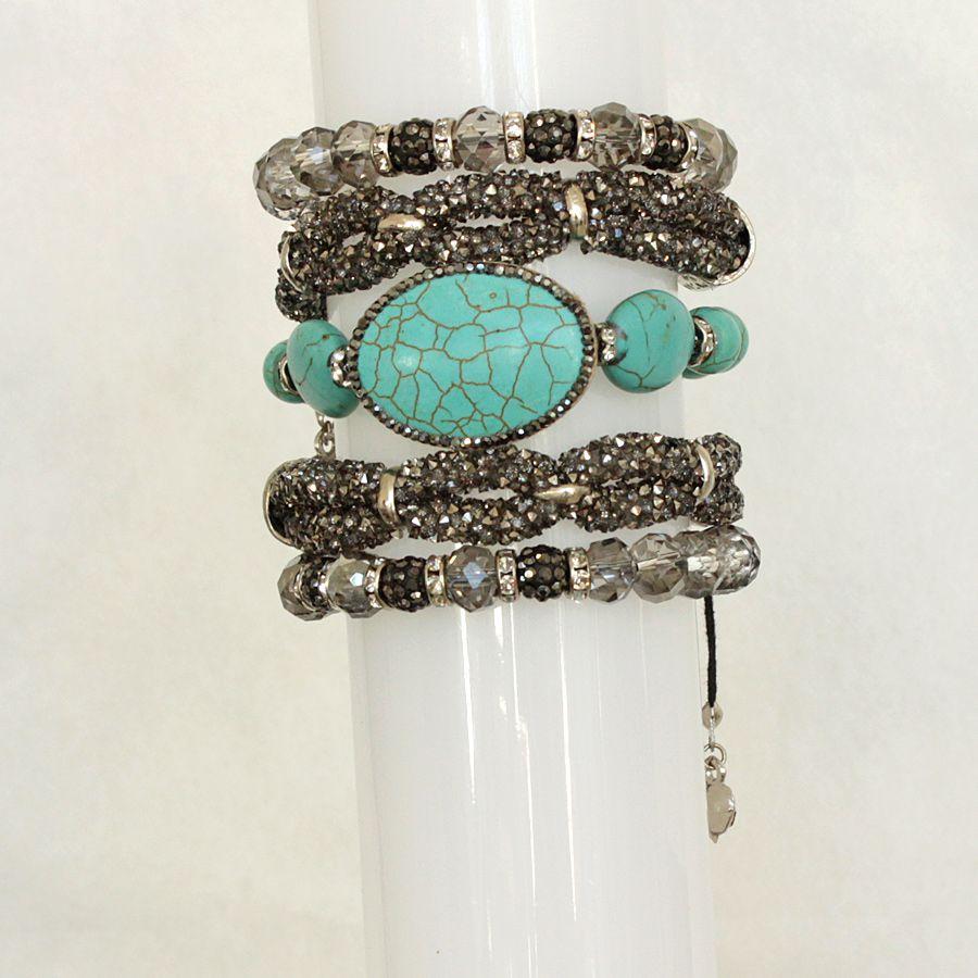 Pulseira feminina azul, 5 voltas, cristais, strass e pedras -3823