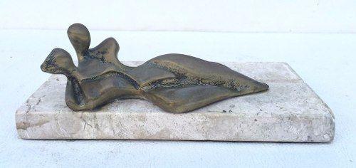 Antigo Porta Cartões Escultura Bronze Base Granito