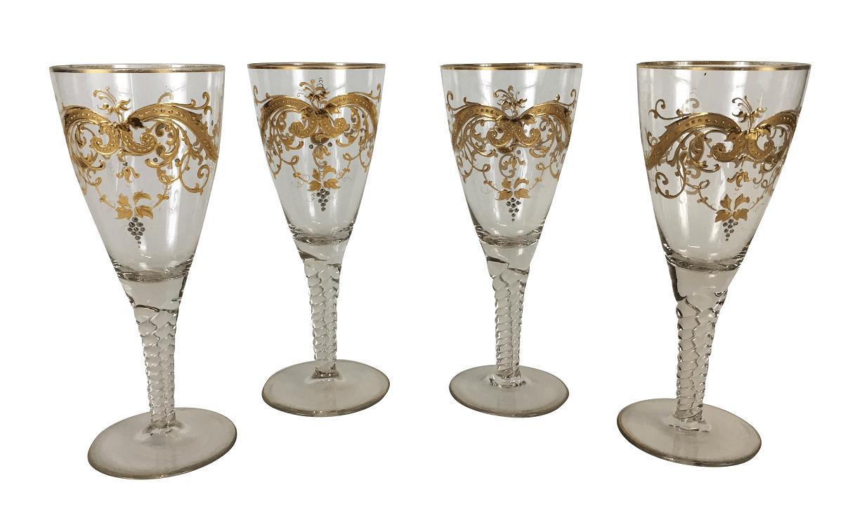 4 Taças Cristal Veneziano Ouro Pintado A Mao